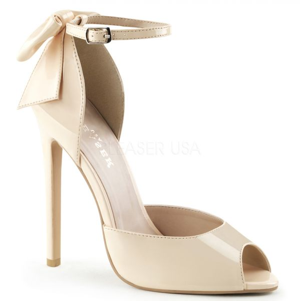 D'Orsay Peep Toe High Heels nude Lack mit Riemchen SEXY-16